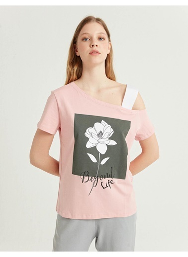 BGN Açık Pembe - Baskılı T-Shirt Pembe